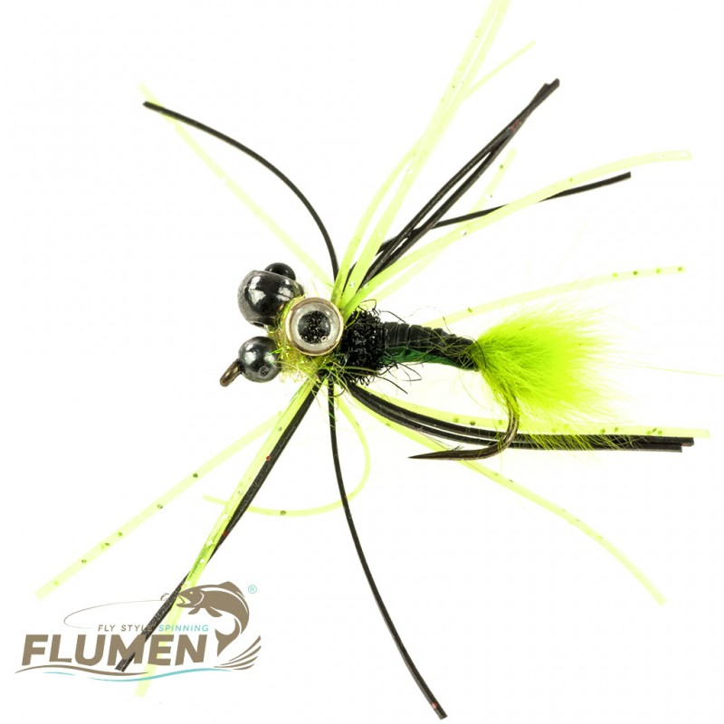 FLUMEN JIG NYMPH TRIPLE HEAD GREEN HORNET